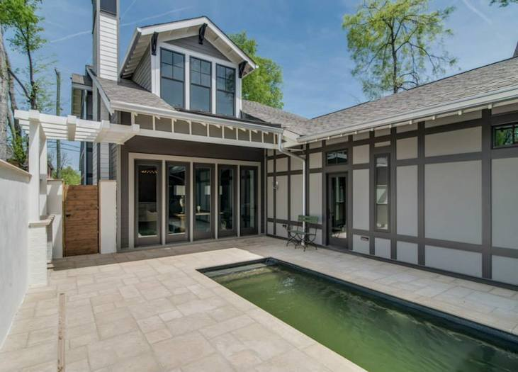 Backyard courtyard with pool Bynum Residential Design Nashville TN
