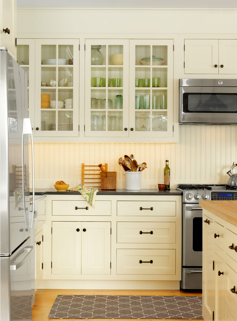 A beadboard backsplash white