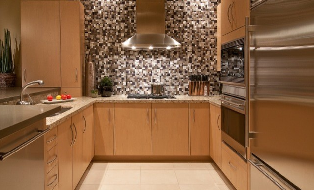 Mosaic metal backsplash