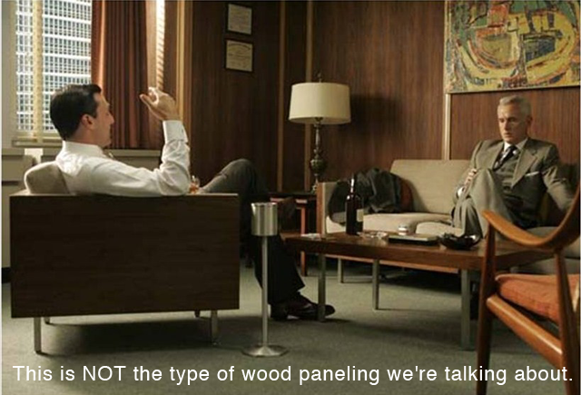 Mad Men interiors wood paneling